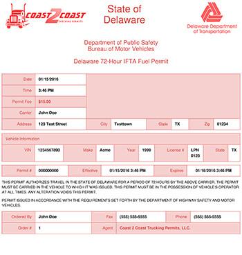 Delaware Permit Example