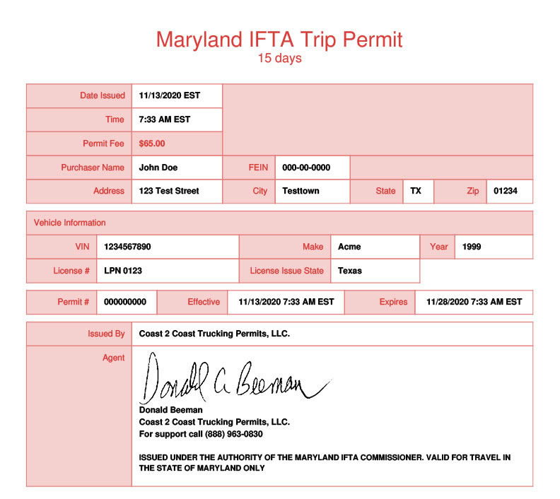 Maryland Permit Example