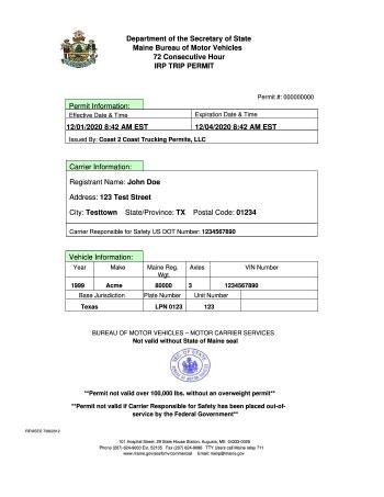 Maine Permit Example