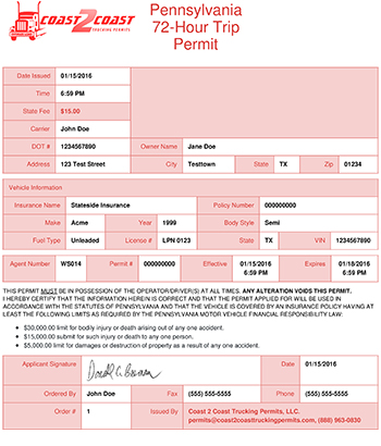 Pennsylvania Permit Example